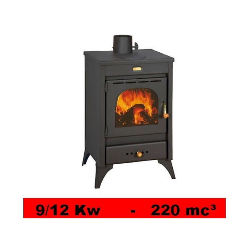 Stufa a legna termocamino con piastra cottura in ghisa 9 12 kw mod kyr - Stufe in ghisa a legna usate ...