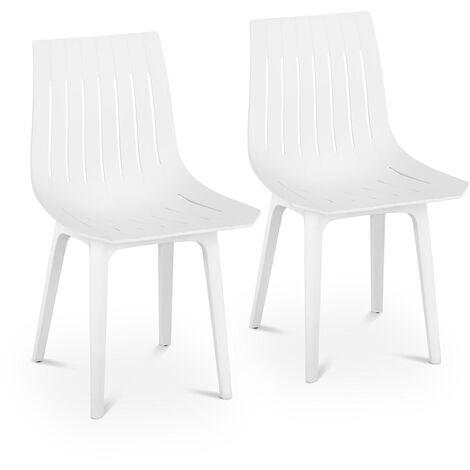 Stuhl 2er Set weiß Küchenstuhl bis 150 kg Kunststoffstuhl Designstuhl