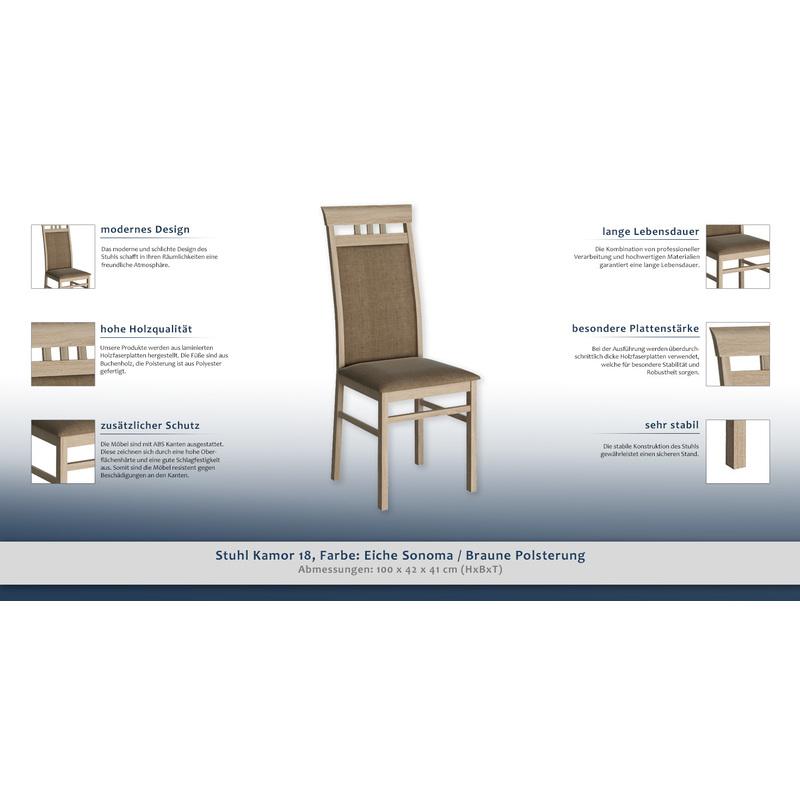 Stuhl Kamor 18 Farbe Eiche Sonoma Braune Polsterung 100 X 42 X