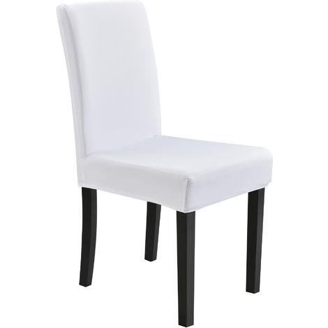 Stuhlhusse 42-53cm Weiß Schonbezug Stuhlbezug Stuhlüberzug Stretch