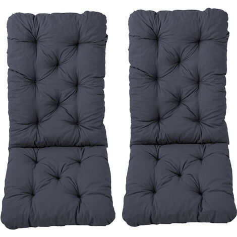 Stuhlkissen mit Rückenteil Hochlehner Sitz und Rückenkissen mit Bänder 120x50 cm Polsterauflage Gartenstuhl grau 2er Set