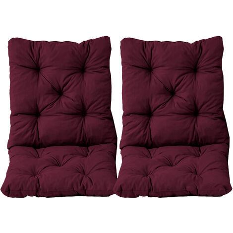 Stuhlkissen mit Rückenteil Sitz und Rückenkissen mit Bänder 50x98 cm Polsterauflage Gartenstuhl bordeaux rot 2er Set