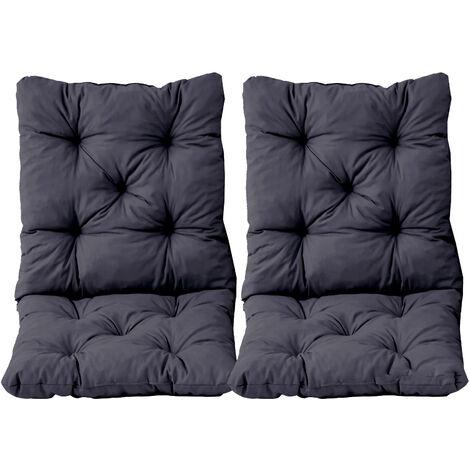 Stuhlkissen mit Rückenteil Sitz und Rückenkissen mit Bänder 50x98 cm Polsterauflage Gartenstuhl grau 2er Set