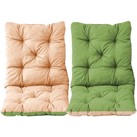 Stuhlkissen mit Rückenteil Sitz und Rückenkissen mit Bänder 50x98 cm Wendeauflage Polsterauflage Gartenstuhl grün beige Wendekissen 2er Set
