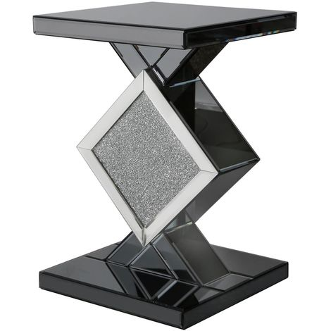 Stunning Smoked Mirrored With Diamond Design End Table