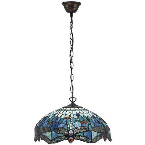 Stunning Style Dragonfly Blue Medium 3Lt Pendant Light Tiffany Style 60W