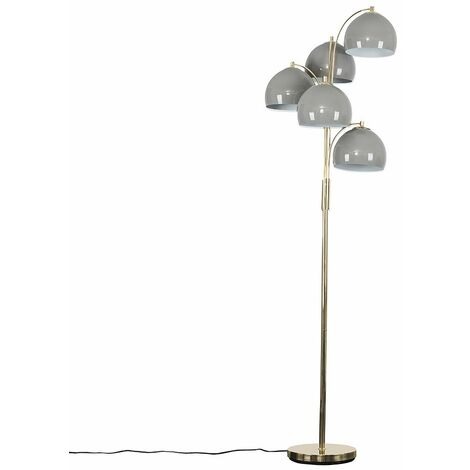 Style 5 Way Gold Floor Lamp With Grey Shades