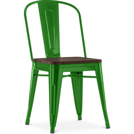 Style Tolix Square Chair - Metal and Dark Wood