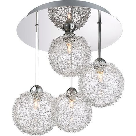 Stylish 4-Rod Chrome Ceiling Light with Unique Wire Mesh Shades by Happy Homewares