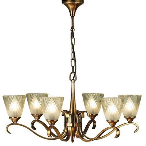 Stylish 6 Lights Pendant Light Antique Brass With Clear Glass Shades