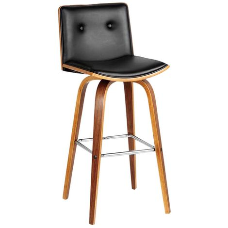Stylish Bar Chair Walnut Veneer In Black Leather Effect With Footrest