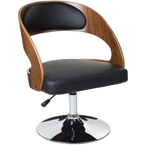 Stylish Black Leather Effect Bar Chair Walnut Wood With Chrome Base