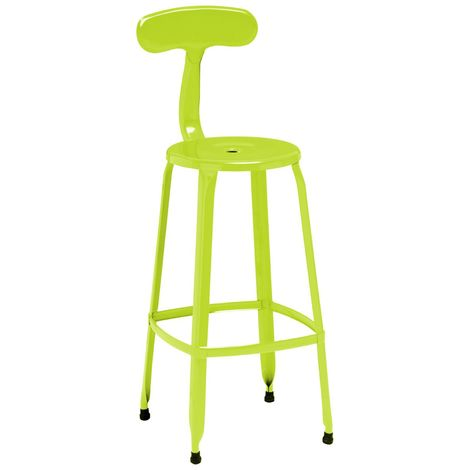 Stylish Disc Bar Chair/Stool In Lime Green Powder Coated Metal
