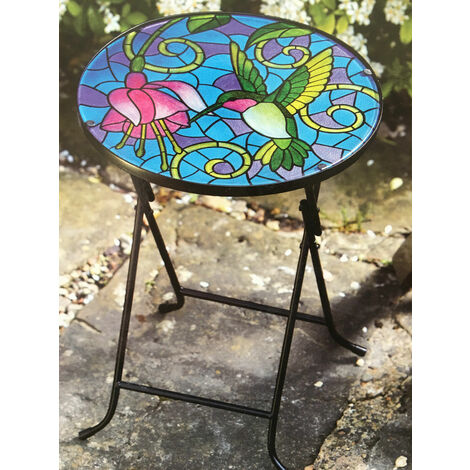 Stylish Hand Painted Colourful Glass Table Top Folding Drinks Table Hummingbird