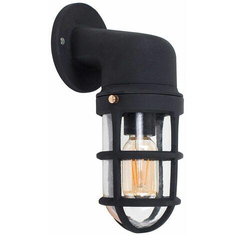 Stylish IP44 Rated Aluminium Metal Outdoor Wall Fisherman Light Lantern + 4W LED Filament Bulb - Matt Black - Black