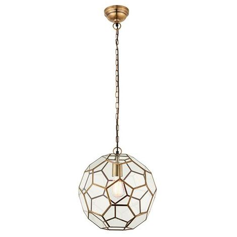 Stylish Miele 1Lt Pendant Light Fitting 40W Antique Brass Finish & Glass Shade
