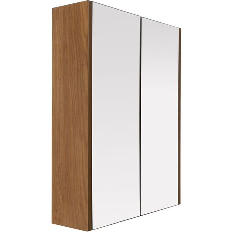Stylish Mirrored 2 Door Wall Cabinet Furniture With Oak Effect
