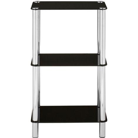Stylish shelf unit, 3 tier black glass, chrome finish legs