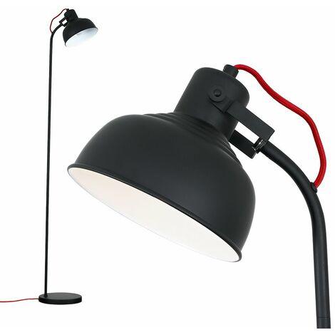 Stylish Spotlight Floor Lamp Red Wire Black Head