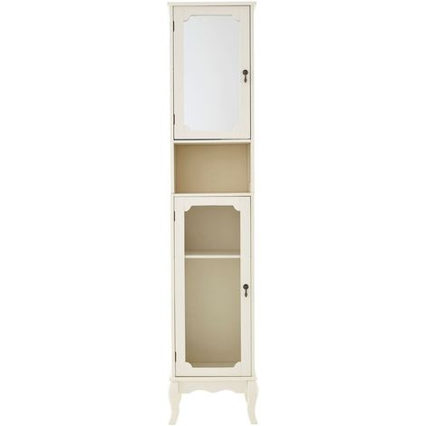 Stylish Tallboy Double Door Display Cabinet With Shelf And Storage