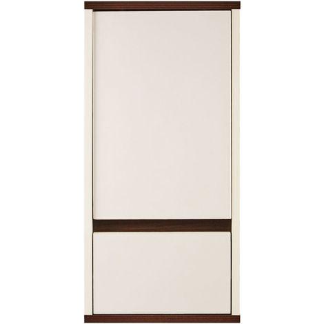 Stylish White Wall Cabinet Walnut Veneer With Single Door 1 Cabinet