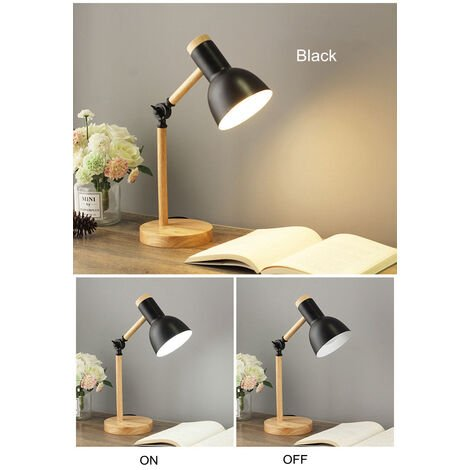 Stylish Wooden Iron LED Multi-Joint Reading Table Lamp Flexible Task Light 3W Nordic Folding Desk Lamp Bedroom Eye Protection Black - White Light