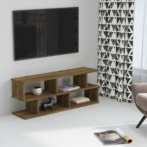 Su TV-Schrank mit Regalen - aus dem Wohnzimmer - Nussbaum aus Holz, 120 x 29,6 x 45 cm