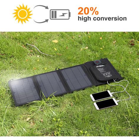 SUAOKI 21W Solar Charger, Foldable Solar Panel with Advanced TIR-C, Multiple USB 2.0