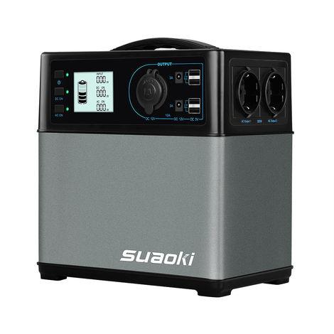 SUAOKI - Générateur solaire portable 400Wh/120,000mAh, chargeur de batterie, alimentation électrique (sortie CA/voiture, 4 ports USB, onduleur CA et CC, 1 allume-cigare, démarreur de voiture)