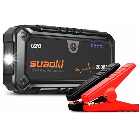 SUAOKI U28 - Démarreur de voiture 2000A, Démarreur pour les urgences (lampe de poche à LED avec pinces intelligentes pour véhicules 12V, grandes machines)