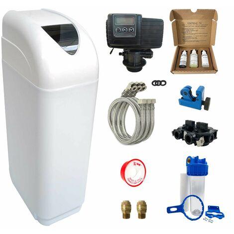 Suavizador de agua 10L Fleck 5600 SXT completo con prefiltración y accesorios de montaje