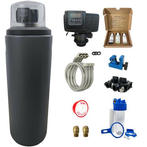 Suavizador de agua 25L Fleck 5600 SXT completo con prefiltración y accesorios de montaje