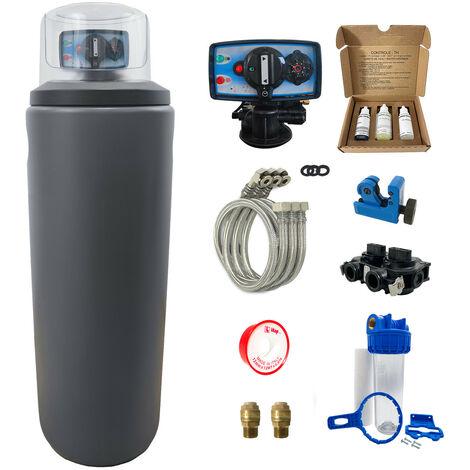 Suavizador de agua 30L Fleck 5600 MC completo con prefiltración y accesorios de montaje