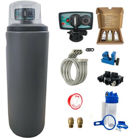 Suavizador de agua 30L Fleck 5600 MV completo con prefiltración y accesorios de montaje