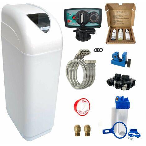 Suavizador de agua 8L Fleck 5600 MV completo con prefiltración y accesorios de montaje