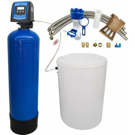 Suavizador de agua bi-bloque 20L Fleck 5800 SXT completo con prefiltración y accesorios de montaje