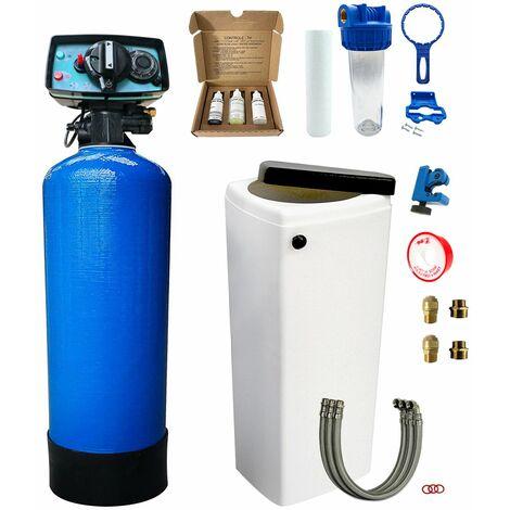 Suavizador de agua bi-bloque 30L Fleck 5600 MV completo con prefiltración y accesorios de montaje