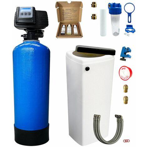Suavizador de agua bi-bloque 30L Fleck 5600 SXT completo con prefiltración y accesorios de montaje