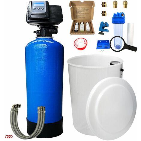 Suavizador de agua bi-bloque 50L Fleck 5600 SXT completo con prefiltración y accesorios de montaje