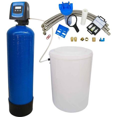 Suavizador de agua bi-bloque 50L Fleck 5800 SXT completo con prefiltración y accesorios de montaje