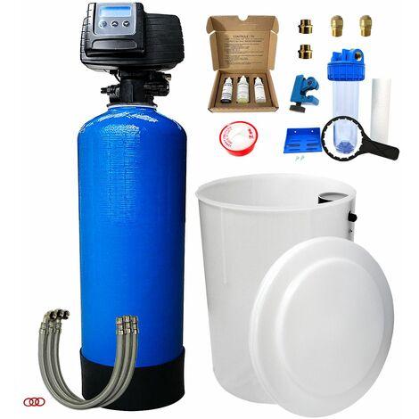Suavizador de agua bi-bloque 75L Fleck 5600 SXT completo con prefiltración y accesorios de montaje