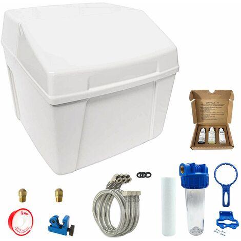 Suavizador de agua sin electricidad ultra compacto duplex completo con prefiltración y accesorios de montaje