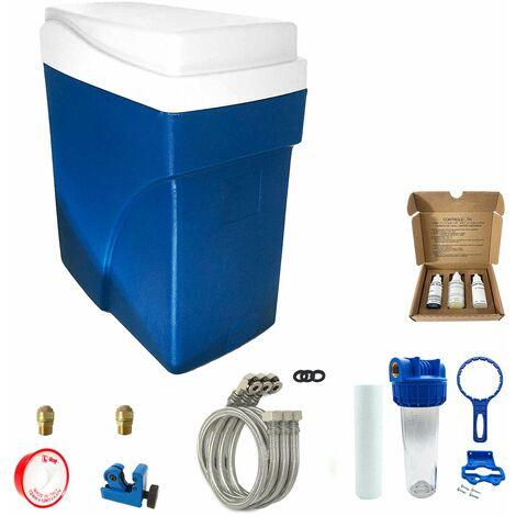 Suavizador de agua sin electricidad ultra compacto simplex completo con prefiltración y accesorios de montaje