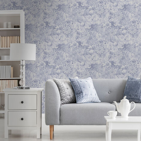 Sublime Blue Evie Cool Floral Wallpaper (Was £13)