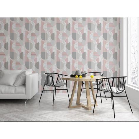 Sublime Blush/Grey Art Deco Geometric Wallpaper