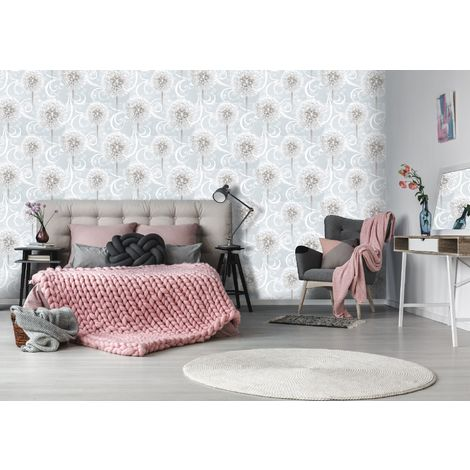Sublime Dandelion Dreams Grey Floral Wallpaper