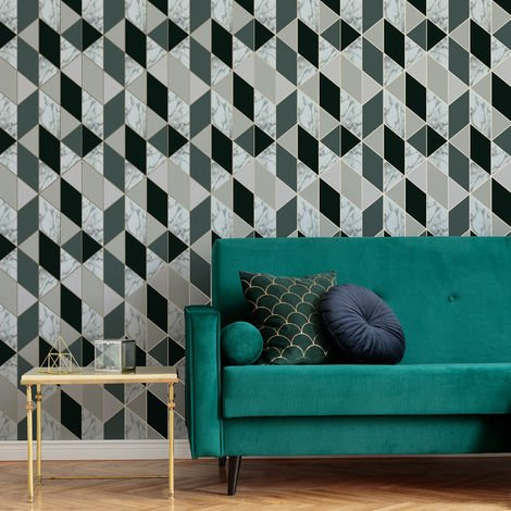 Sublime Dark Green Marble Geometric Wallpaper