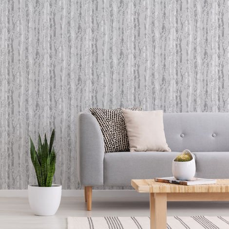 Sublime Grey/Silver Dappled Tree Forest Wallpaper
