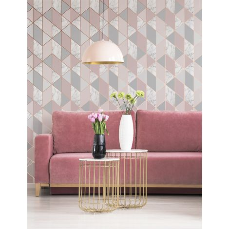 Sublime Marble Blush Geometric Wallpaper