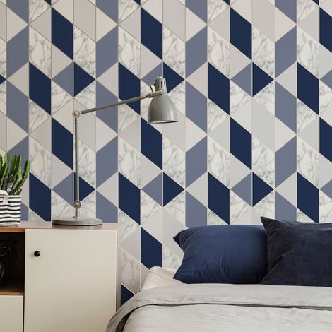 Sublime Navy Marble Geometric Wallpaper